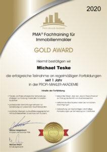 Gold Award PMA 1Jahr