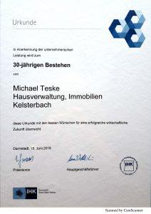 Teske Immobilien 30 Jahre IHK Urkunde 2018