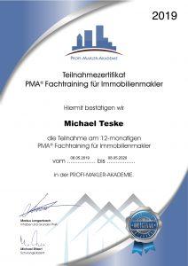 Zertifikat - PMA® Fachtraining für Immobilienmakler